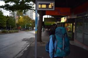 早朝バスで空港へ